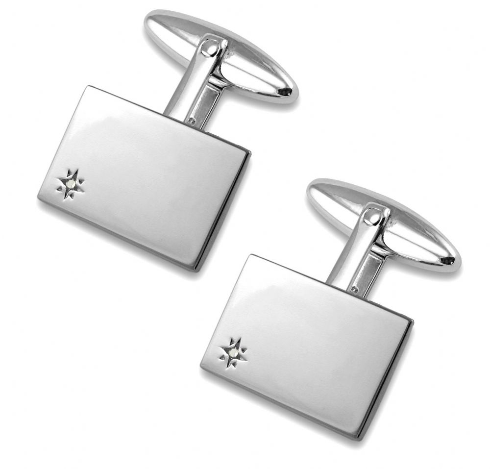 925 Sterling Silver Rectangular Diamond Cufflinks